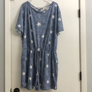 Blue with White Stars Romper Size 3X